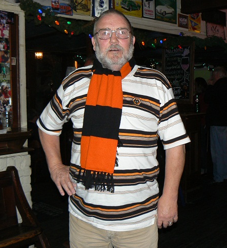 Clive with the scarf he won in a recent Wolves Blog competition