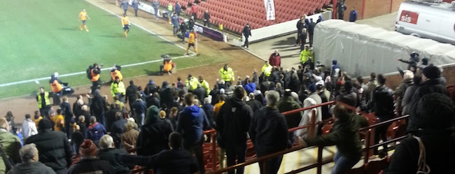 Furious Wolves fans scream F*** Off! to all their players after Barnsley defeat