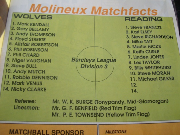wolves v reading 1988 teams