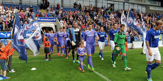 Arthur leading out Wolves at Chesterfield