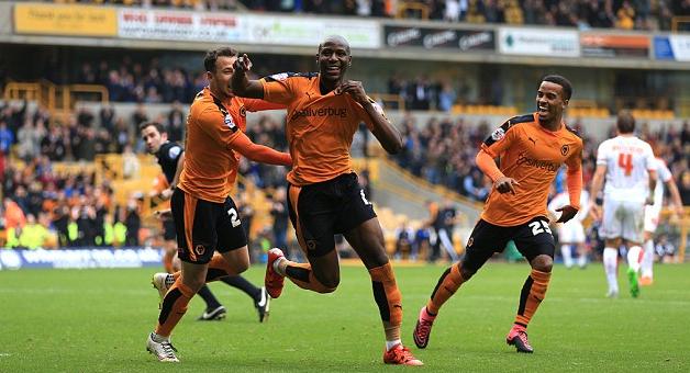 Huddersfield Afobe celebrates